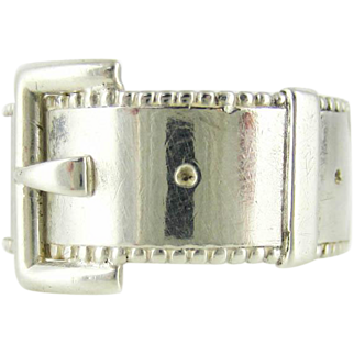 Victorian Sterling Silver Buckle Ring, Antique 1880s Beaded Edge Wide Band. Size O / 7.25.