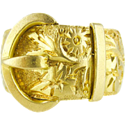 Edwardian 18ct Buckle Ring, Antique Wide Ivy & Flower 18k Engraved Band. Full English Hallmarks.