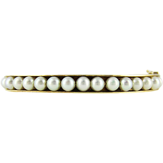 Cultured Pearl Bangle Bracelet, 1960s Vintage 9ct Yellow Gold Bracelet.