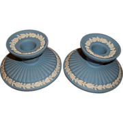 Wedgwood Candlestick - Blue Jasperware - Never Used
