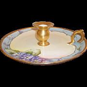 Vintage GDA Limoges Candlestick - Hand-painted Violets, Gold Trim