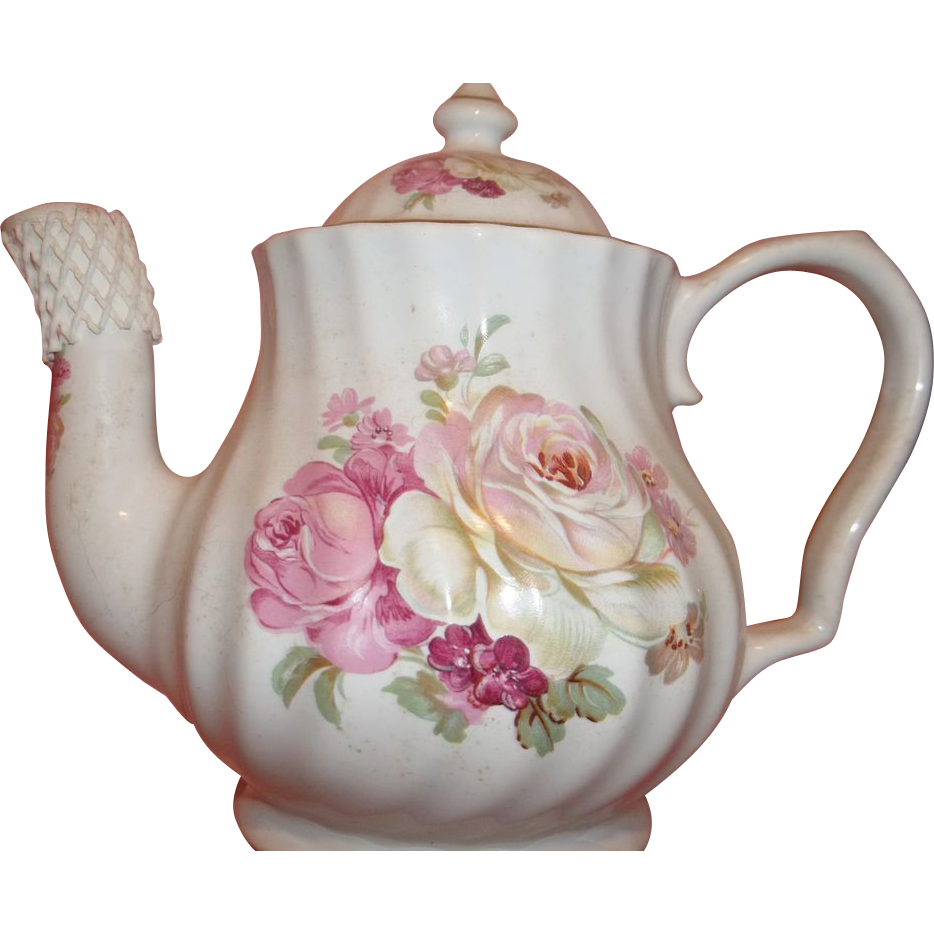 Vintage Lefton China Teapot Pink And White Florals