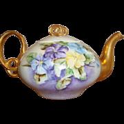 Vintage GDA Limoges Tea Pot / Teapot - Hand-painted Pansies