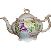 Vintage JP Limoges Tea pot - Hand-painted Roses