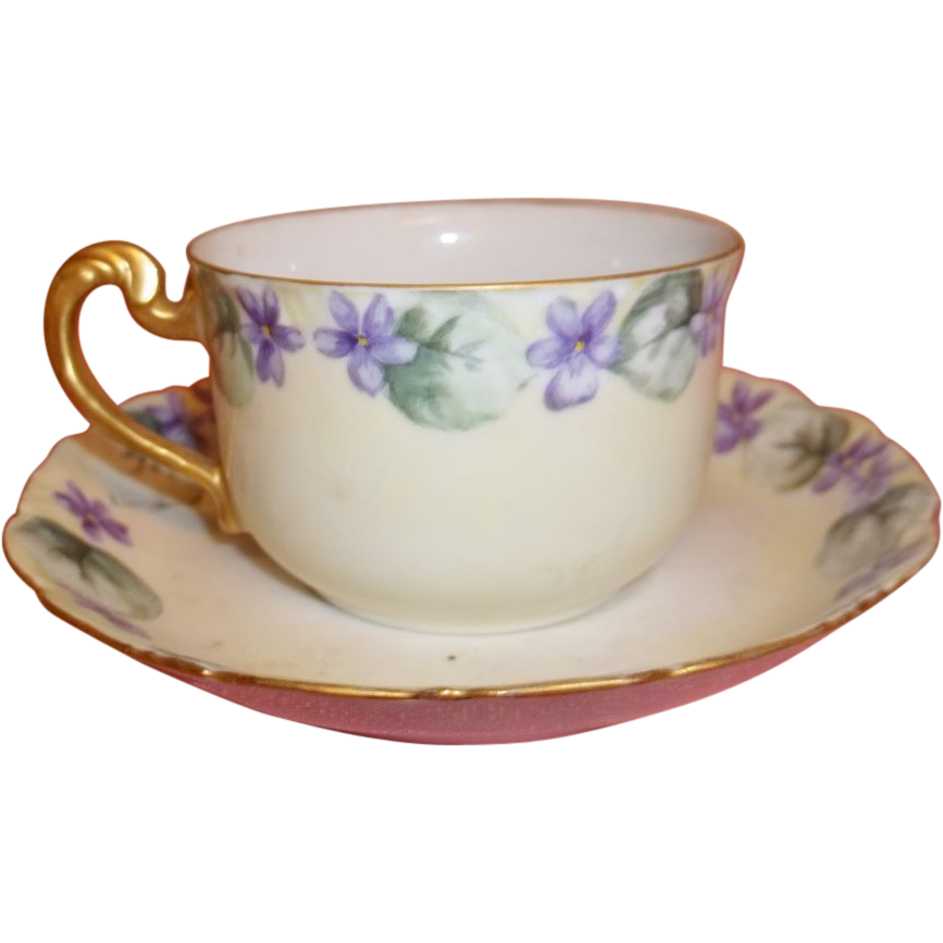 Hand Painted Limoges Cup And Saucer