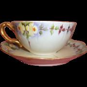 Vintage Haviland Limoges Tea Cup & Saucer - Hand-painted