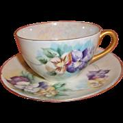 Vintage Hand-painted Tea Cup & Saucer - Pansies - Japan
