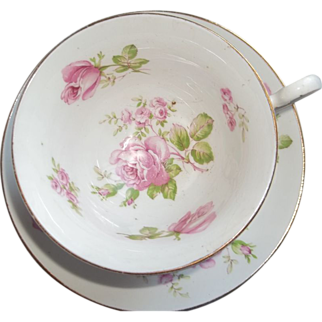 Vintage Woodlands Bone China Tea Cup and Saucer - Pink Roses