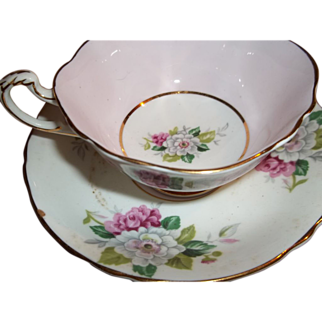 Vintage Paragon Tea Cup & Saucer - Pink and White Florals