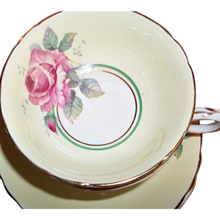 Vintage Paragon Tea Cup & Saucer - Single Pink Rose