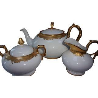 J. P. Limoges Tea Set - White with Gold Embossing - Excellent Condition - Initialed and Dated 1910
