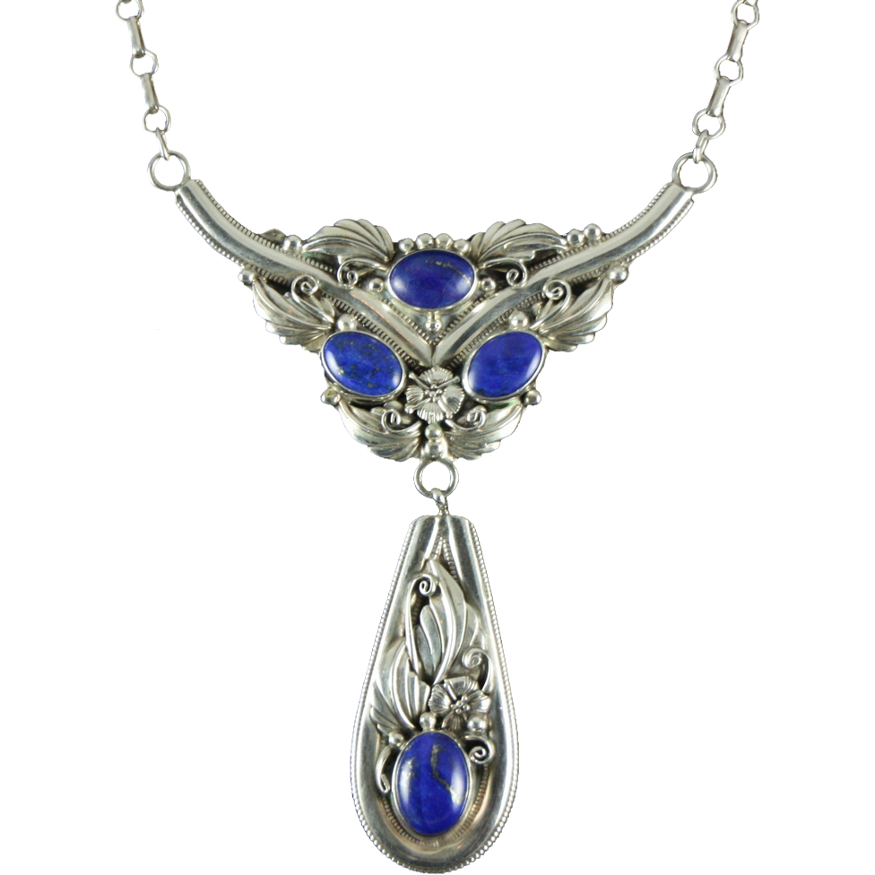 lavalier necklace with lapis and foliate designs by l