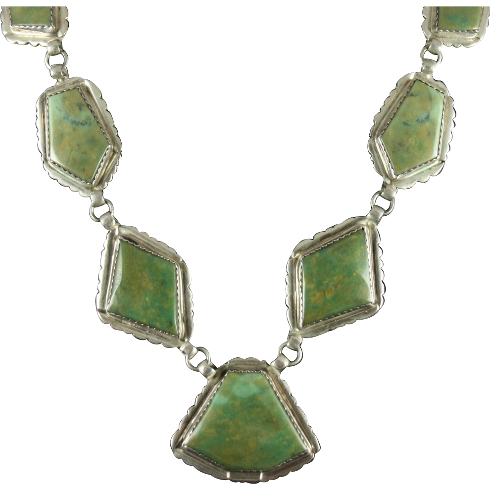 big pendant necklace with green turquoise by ec fierro