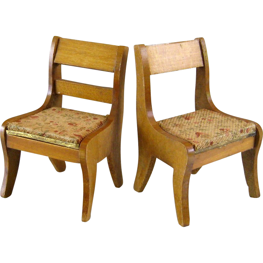 Pair Blonde Biedermeier Dollhouse Chairs Antique Doll Furniture Sold On Ruby Lane