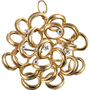 14K Dan Frere 0.30 CTW Diamond Free Form Circle Cluster Pin/Brooch Yellow Gold