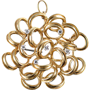 14K Dan Frere 0.30 CTW Diamond Free Form Circle Cluster Pin/Brooch Yellow Gold  [QPQX]