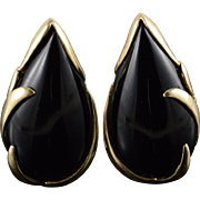 14K 28x16 Black Onyx Leaf French Clip Earrings Yellow Gold