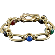 "14K HEAVY Cabochon Gemstone Fancy Bracelet 7""  Yellow Gold  [QPQX]"