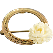 Gold Filled Carved Flower Filigree Circle Pin/Brooch