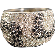 14K 1.25 Ctw Black & White Diamond Pave Ring Size 6 White Gold