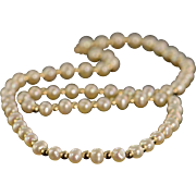 "14K 5.5x4.5 mm Freshwater Pearl Strand Gold Ball Necklace 18"" Yellow Gold"