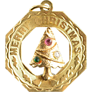 14K Christmas Tree Medallion Charm/Pendant Yellow Gold