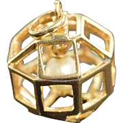 14K Pearl Bead in 3D Geometric Cage Charm/Pendant Yellow Gold