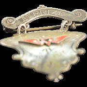 Sterling Silver Vintage Track & Field 1st Prize Enamel Award Pin/Brooch
