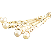 14K Pearl Bead Accented Articulated Hand Fan Charm/Pendant Yellow Gold