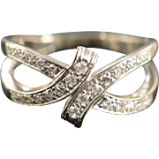 14K 0.25 Ctw Vintage Split Shank Bypass Diamond Ring Size 7 White Gold
