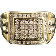 10K 0.60 Ctw Diamond Men's Bling Ring Size 10 Yellow Gold