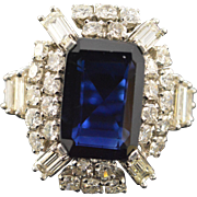 14K 8.17 Ct Sapphire 4.06 Ctw Diamond Halo Statement Ring Size 6.5 White Gold
