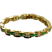 "18K 9.38 Ctw Emerald Diamond Tennis Bracelet 7"" Yellow Gold"