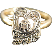 14K Antique 0.10 Ctw Diamond Heart Motif Ring Size 9 Yellow Gold