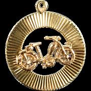 9K Motorcycle Medallion Charm/Pendant Yellow Gold
