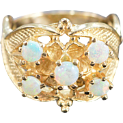 14K 0.50 Ctw Opal Filigree Ring Size 6.5 Yellow Gold