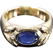 14K 2.04 Ctw Sapphire Diamond Ring Size 9.75 Yellow Gold