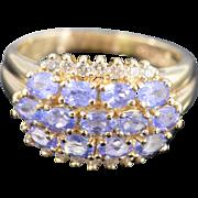 14K 2.20 Ctw Tanzanite & Diamond Ring Size 9.5 Yellow Gold