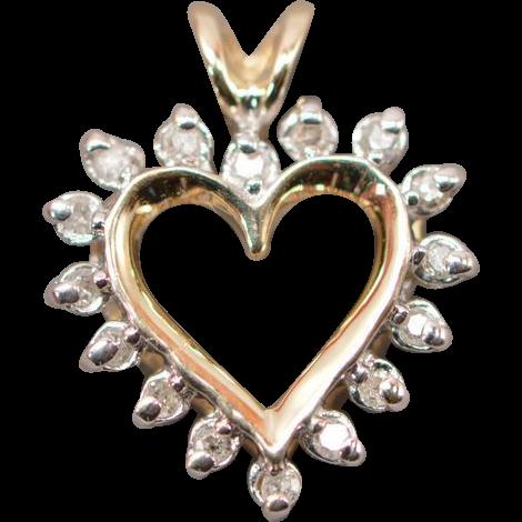 Sweet Dainty 10K Yellow Gold & Diamond Heart Pendant from rubylane sold on Ruby Lane