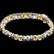 """14K 0.50 Ctw Diamond Two Tone Tennis Bracelet 7.5"""" Yellow/White Gold"""