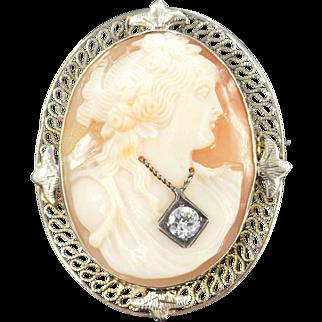 14K 0.25 Ct Diamond Victorian Cameo Filigree Pendant/Pin White Gold