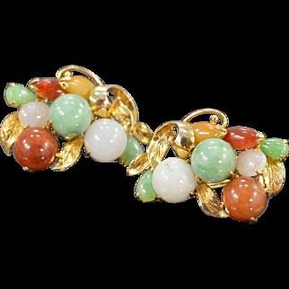 14K Multi Colored Jade Leaf & Berries Earrings Yellow Gold
