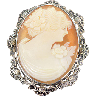 14K Antique Conch Shell Cameo 37x31mm Filigree Frame Pendant/Pin White Gold