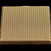 18K Vintage Woven Boucheron Paris Compact Mirror  Yellow Gold