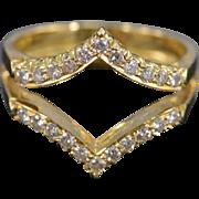 18K 0.44 Ctw Diamond Double Chevron Insert Ring Size 7.5 Yellow Gold