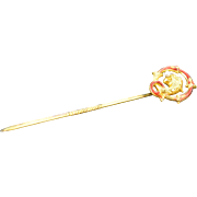14K Victorian Enamel Serpent / Dragon with Seed Pearl Stick Pin Yellow Gold
