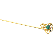 Gold Filled Vintage Green Glass Stick Pin