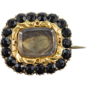 10K Victorian Black Glass & Hair Mourning Jewelry Pin/Brooch Yellow Gold