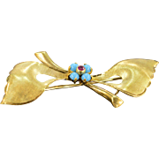 Retro 18K Turquoise & Ruby Italian Brushed Sprig Bow Pin/Brooch Yellow Gold