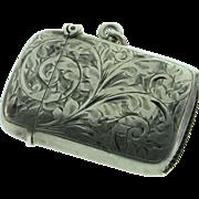 Sterling Silver Vintage 1920's Era Engraved Matchstick Match Case Vesta